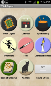 Witch Digest Android App Menu